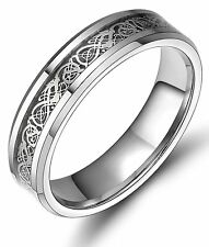 Gold/Silver Celtic Dragon Inlay Tungsten Carbide Ring Men's Jewelry Wedding Band