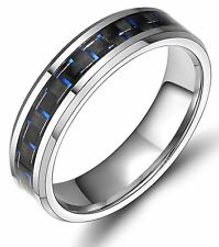 Womens Men's Black Blue Carbon Fiber Inlay Tungsten Ring Engagement Wedding Band