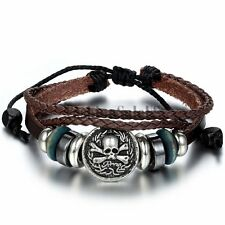 Vintage Pirate Skull Tribal Multilayer Leather Adjustable Bracelet Wristband New