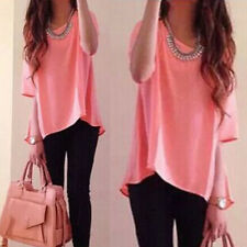 Fashion Womens Summer Short Sleeve Loose Chiffon T-shirt Casual Tops Blouse S-XL