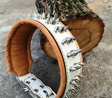 Genuine leather dog collar with spikes and soft cushion. Hand Made. M- XXL sizes