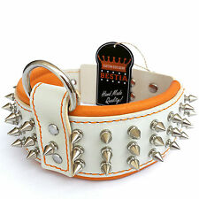 Real leather dog collar, 2.5 inch wide, soft padded, hand made, spiked, M- XL