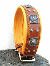Bestia genuine leather studded dog collar. soft padded. Hand made in Europe!