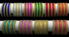 24 COLOURED INDIAN PLAIN BANGLES BOLLYWOOD BELLYDANCING METAL BANGLES JEWELLERY