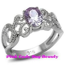 Women's Lt Purple Amethyst CZ Solitare w/Accents Scroll Ring - Stainless Steel