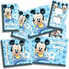 BABY MICKEY MOUSE NURSERY LIGHT SWITCH OUTLET PLATES INFANT NEWBORN BOYS BEDROOM