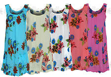 Ladies Summer 2015 Beach Floral Cotton Sleeveless Tunic Shift Mini Dress 12 -18