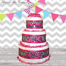 Hot Pink Black & White Zebra Print 3 Tier Diaper Cake Chic / Baby Shower Gift