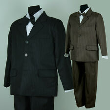 BNWT Pinstripe Formal Wedding Boy Jacket Suit 3 piece Size 0 - 16 Black Brown