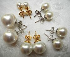 STUD MAJORCA/MALLORCA PEARL EARRINGS WHITE 6MM TO 14MM GOLD/RHODIU faux majorica