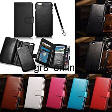 Luxury Flip Leather Wallet Credit Card Slot Holder Phone Case Cover With Strap