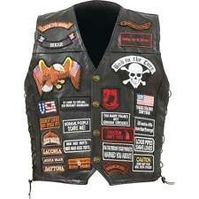 Diamond Plate™ Rock Design Genuine Buffalo Leather Biker Vest with 42 Patches
