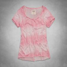 Abercrombie & Fitch Carissa Tee Womens Pink Wash Fade Stripe T-Shirt New NWT