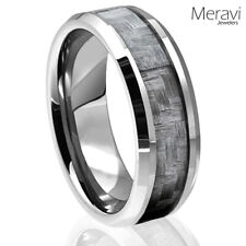 Tungsten Carbide Grey Carbon Fiber Ring Mens Engagement Wedding Band Silver NEW