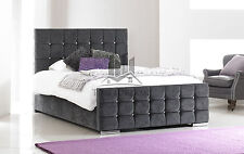 Upholstered Charcoal Chenille Bed Frame All Colours And Sizes Diamond Made In UK