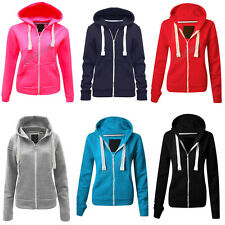SPECIAL OFFER Women's Ladies Plain Hoodie Zipper Sweatshirt Jacket Top Zip Top