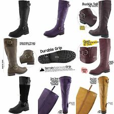 Women's Knee High Double Buckle Strap Round Toe Military Combat Mid Calf Boots