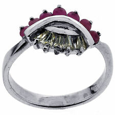 .925 Silver Natural Ruby & CZ Ring