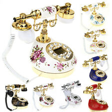 Retro Vintage Antique Style Resin Desk Telephone Corded Living Room Decoration