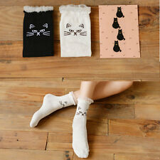 Women Girl Socks Solid Lace Ruffle Cute Cat Face Ankle Socks Boot Cotton