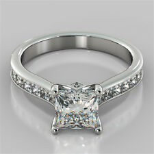 2.64Ct Princess Cut Engagement Ring 14K White Gold With Optional Matching Band