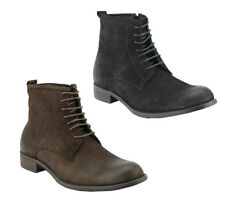 Mens Real Wax Leather Black Brown Military Style Lace up Boots Side Zip Shoes