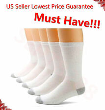 3,6, 12 Pairs CREW Mens Solid Sports Socks Cotton 10-13 13-16 White LOT USA LONG
