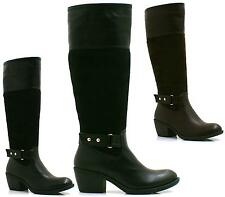 LADIES BLACK BROWN LOW HEEL COWBOY KNEE HIGH WOMENS RIDING BIKER BOOTS SIZE