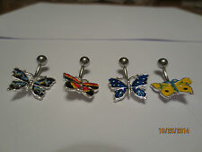 Colorful Butterfly Belly Ring - 316L Surgical Steel - 14G Butterfly Navel Ring
