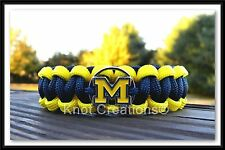 Michigan Wolverines Paracord Bracelet Officially Licensed NCAA Logo Charm