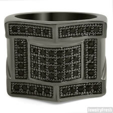 Blacked Out Royalty Design Iced Out Mens CZ Bling Ring