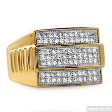 18K Gold Plated Presidential CZ Flawless Mens Ring