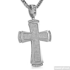 Stainless Steel Cubic Zirconia Classic Silver Cross Pendant