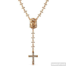 Rose Gold Jesus Face Cross Links Iced Out Rosary Necklace