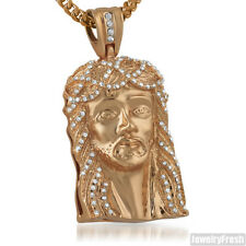 Rose Gold Jesus Face Iced Out Pendant With Czech Crystals