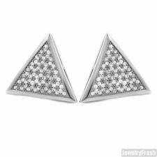 Silver Finish Jumbo Triangle CZ Iced Out Hip Hop Earrings For Men