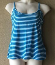 "WOMENS ""Old Navy"" Cross back Fitted Tank Top Blue & White Striped NWT XL"