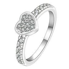 Wedding Bridal .925 SILVER PLATED Crystal Diamante Love Heart Finger Ring Gift