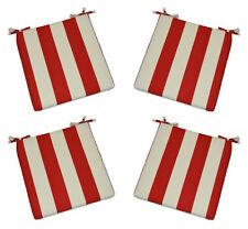Set of 4 In / Outdoor Foam Chair Seat Cushions Red and White Stripe, Choose Size