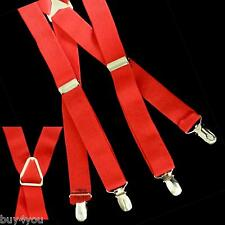 Suspender Belt Red Strap Fashion 4 Clips Elastic for Jeans Trousers