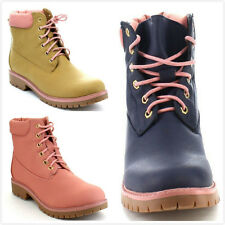 New Women's Military Combat Lace Up Hiking Outdoor Work Ankle Short Flat Boots