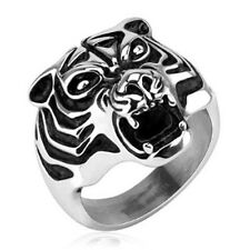 "Men's Women's Ring ""Animal Tiger head"" 6 Size stainless steel jewelry"