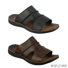 Mens Leather Black Brown Big Size Open Toe Mule Sandals Pool Flip Flop Slippers