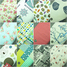 100% Cotton Linen Look Extra Wide Fabric 144cm, 1 Metre Floral Nautical & More