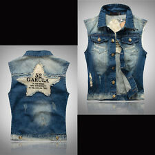 cowboy vest Mens Sleeveless Jacket Waistcoat Coat Denim Jeans Weskit Star S-4XL