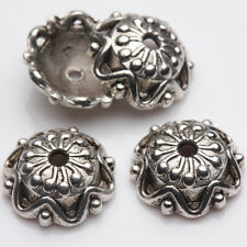 15/30PCS Flower Shape Tibetan Silver Floral Bead Caps 12x4mm End Caps