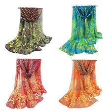 Women Ladies Peacock Chiffon Scarf Long Soft Shawl Silk Wrap Neck Warm Stole Hot