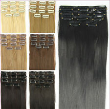 "24"" 62cm Women Long Straight 5 Pieces Clip In On Full Head Hair Extension Hot"