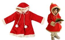 Age 2-7 Red Hooded Toddler Kids Girl Coat with Faux Fur Lining, NWT