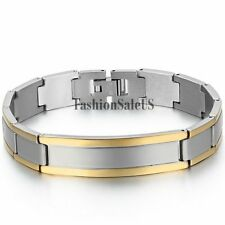 Men's Silver Gold Polished Stainless Steel Bracelet Charm Chain Simple Bangle